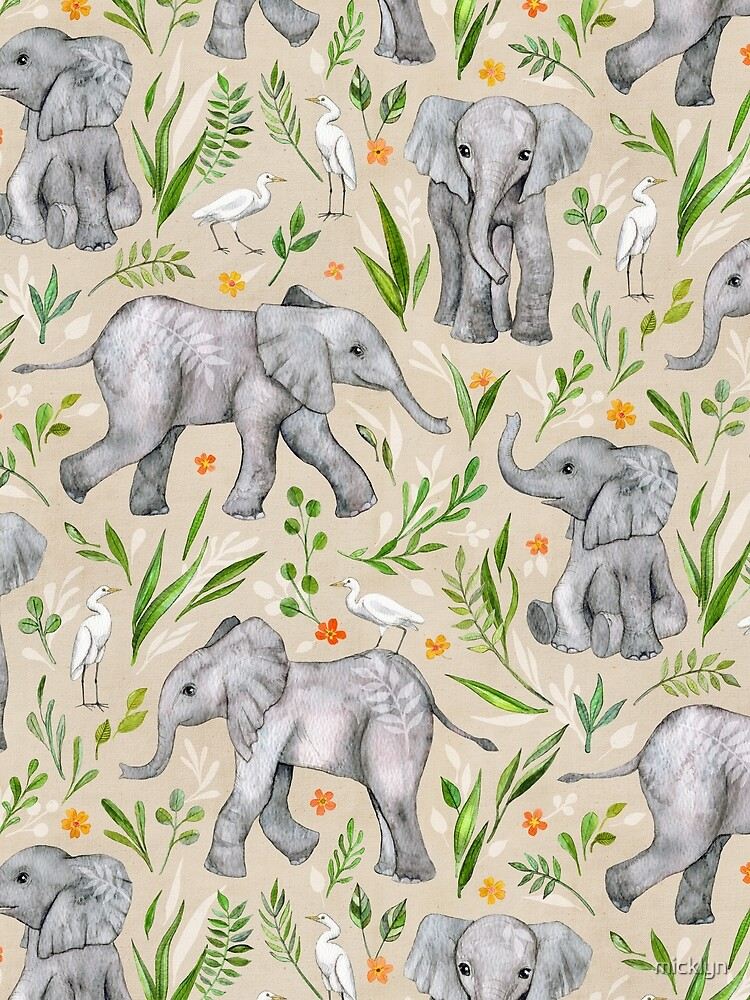 Baby Elephants and Egrets in Watercolor - neutral cream by micklyn