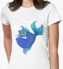 Cute Aqua Seaworld Ocean Pirana Fish Illustration with Colorful Fish tail  Women's Fitted T-Shirt