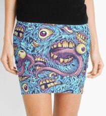 Eyeballs and Teeth Pattern  Mini Skirt