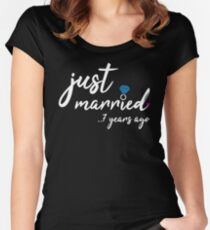7th Wedding Anniversary Gifts - Just Married 7 Years  Women's Fitted Scoop T-Shirt