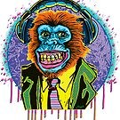 Psychedelic Chimp Suit With Headphones  by MudgeStudios