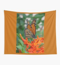 Monarch Butterfly on Cape Honeysuckle Wall Tapestry
