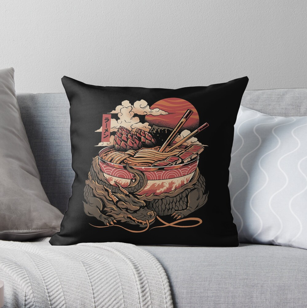 Dragon's Ramen Throw Pillow