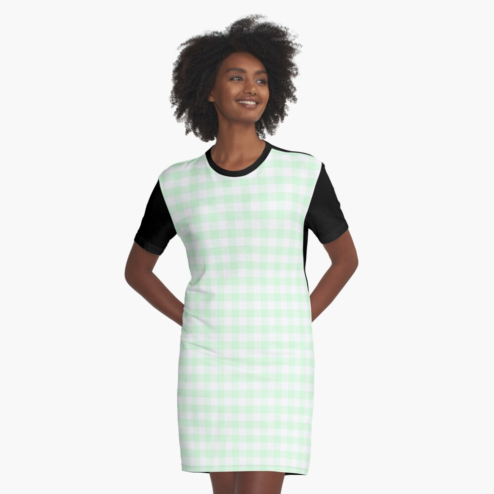 Mint Green Plaid Graphic T-Shirt Dress
