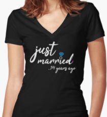 14th Wedding Anniversary Gifts - Just Married 14Years Women's Fitted V-Neck T-Shirt