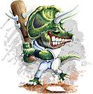 Ball Busta Triceratops Dinosaur Baseball Player by MudgeStudios