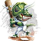 Ball Busta Triceratops Dinosaur Baseball Player by MudgeStudios