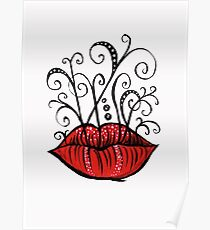 Weird lips ink drawing Poster