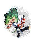 Slash Dinosaur Hockey Player by MudgeStudios