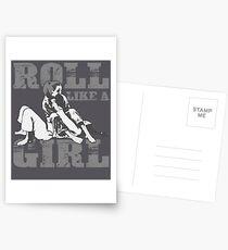 Roll Like A Girl Art   Cute Brazilian Martial Arts Gift Postcards
