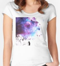 Purple and Blue abstract Women's Fitted Scoop T-Shirt