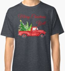 Merry Christmas Y'all - Old Red Truck with Xmas Trees Classic T-Shirt
