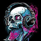 Raspberry Skull Music Headphones by MudgeStudios