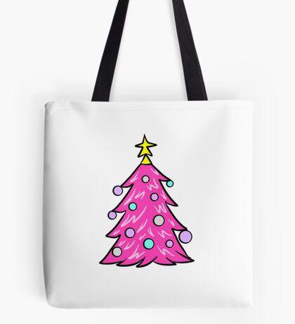 Pink Christmas Tree Tote Bag