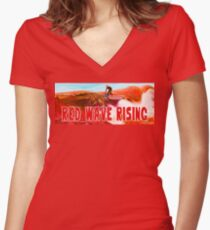 Red Wave Rising Women's Fitted V-Neck T-Shirt