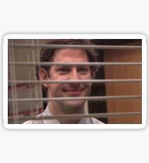 Jim Halpert Smiling Through Blinds Sticker