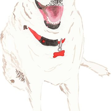 White Dog Watercolor by hintofmint