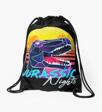 JURASSIC NIGHTS - Miami Vice Vapor Synthwave T-Rex Drawstring Bag