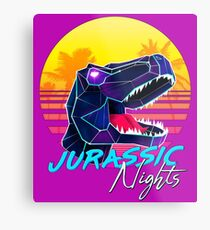 JURASSIC NIGHTS - Miami Vice Vapor Synthwave T-Rex Metal Print