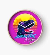 JURASSIC NIGHTS - Miami Vice Vapor Synthwave T-Rex Clock