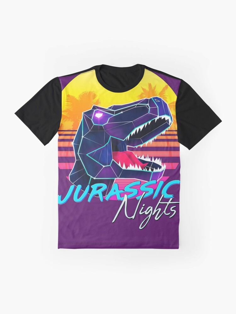 Alternate view of JURASSIC NIGHTS - Miami Vice Vapor Synthwave T-Rex Graphic T-Shirt