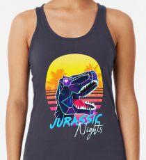JURASSIC NIGHTS - Miami Vice Vapor Synthwave T-Rex Racerback Tank Top