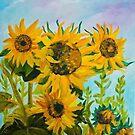 Garden Yellow Sunflowers by ElenaFineArt