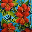 Azaleas Red flowers on Blue by ElenaFineArt