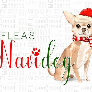 Chihuahua Funny Fleas Navidog Christmas in Red and Green by SalonOfArt