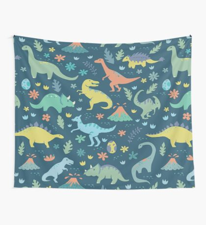 Dinosaurs and Volcanoes Wall Tapestry
