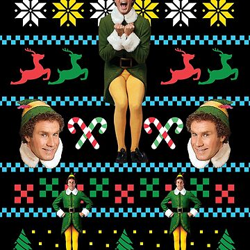 Buddy The Elf Ugly Christmas Sweater Design Classic Xmas Movie Fun Gift Will Ferrell by starkle