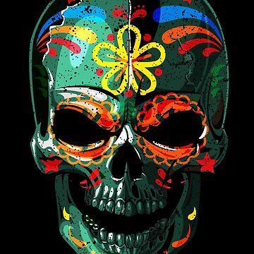 Sugar Skull Colorful Dark - 05 by Skullz23