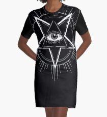 Illuminati Eye of Providence Pentagram Graphic T-Shirt Dress
