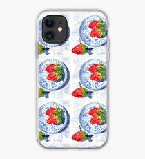 Three Strawberries and Blue porcelain iPhone Case