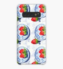 Three Strawberries and Blue porcelain Case/Skin for Samsung Galaxy
