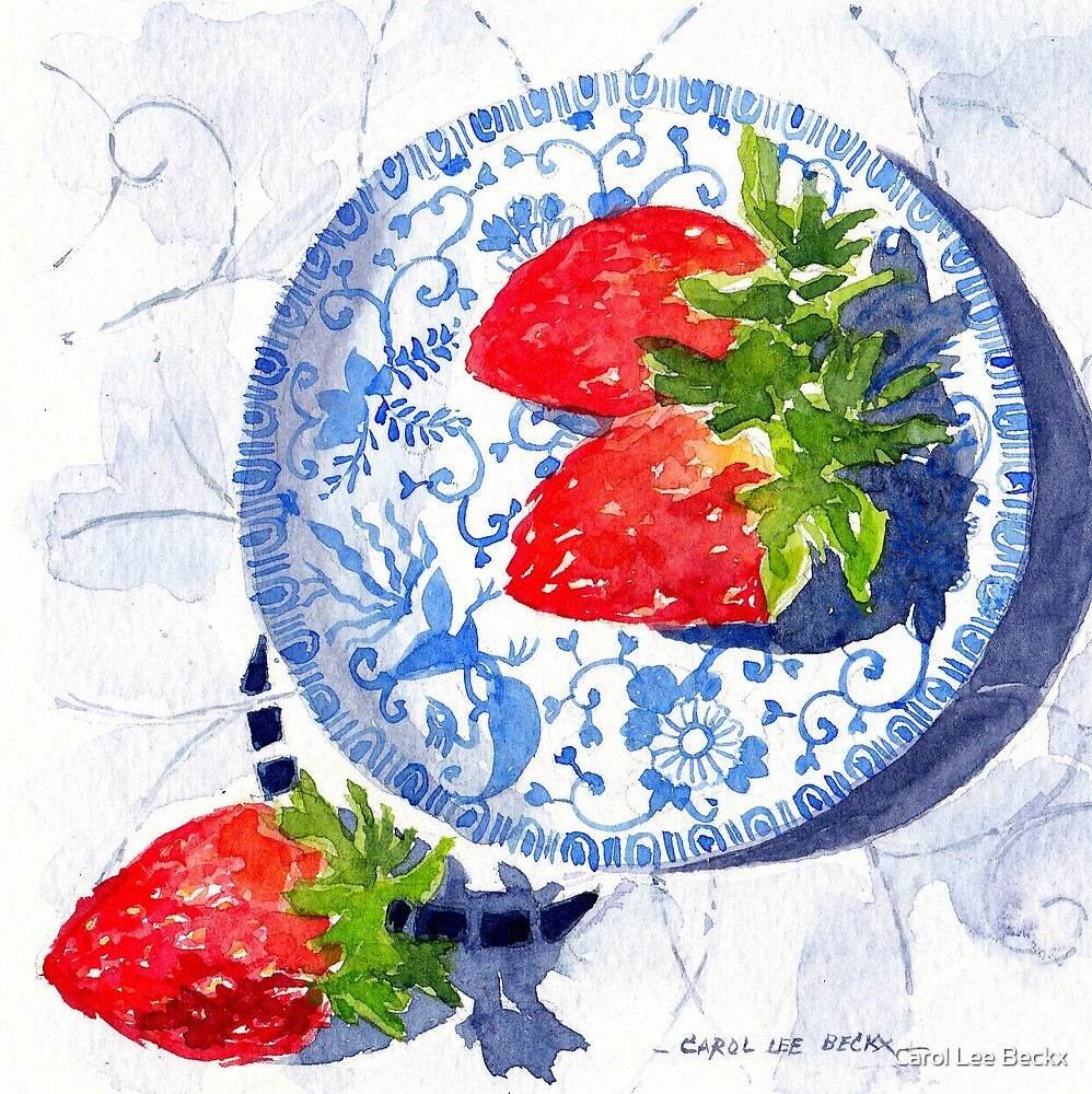 Three Strawberries and Blue porcelain by Carol Lee Beckx
