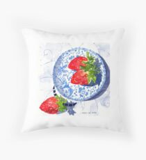 Three Strawberries and Blue porcelain Throw Pillow