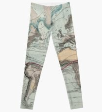Vintage Physical Map of The World (1849) Leggings