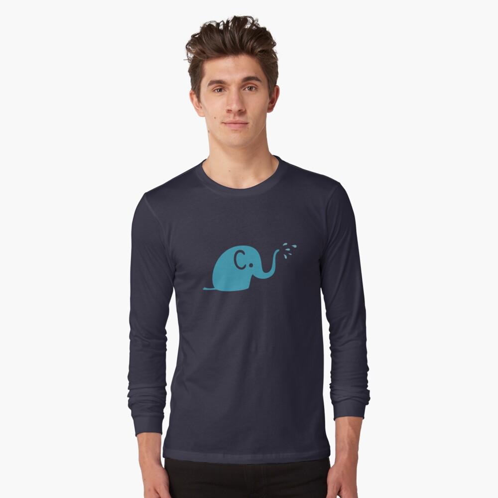 Azurblaue Elefanten Parade Langarmshirt
