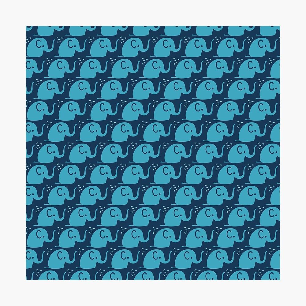 Azurblaue Elefanten Parade Fotodruck