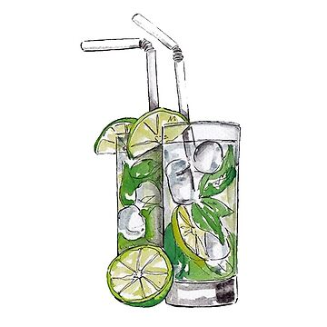 Mojito Watercolor Drink by livpaigedesigns