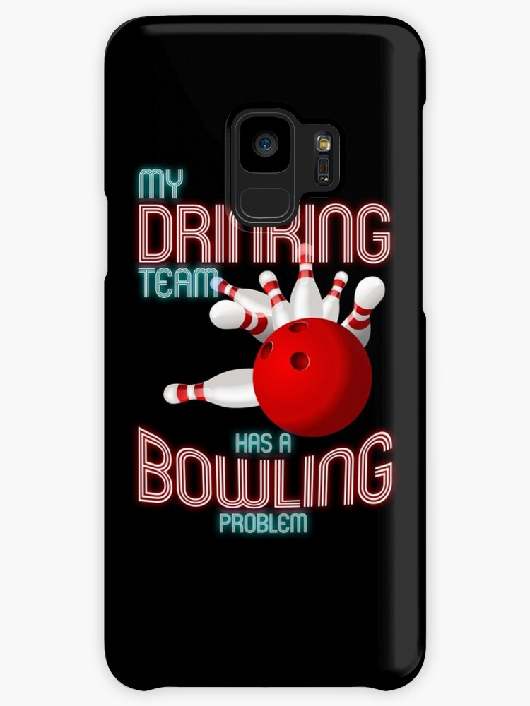 Bowling Shirts - Funny Neon My Drinking Team has a Bowling Problem by proeinstein