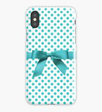 Blue Tiffany Polkadot Ribbon iPhone Case/Skin
