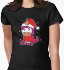 Funny Christmas Xmas Santa Unicorn Sparkle Holiday Gift Women's Fitted T-Shirt