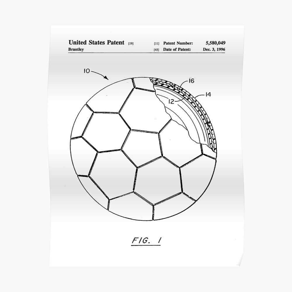 Soccer patent football art black and white poster by patentpress redbubble