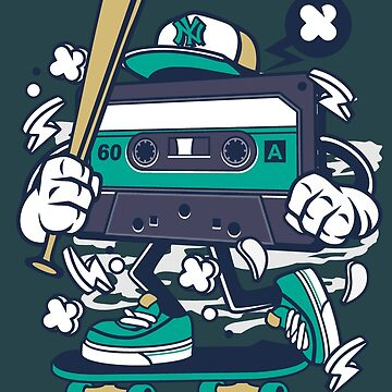 Cartoon Cassette Tape With Baseball Bat on a Skateboard! by manbird