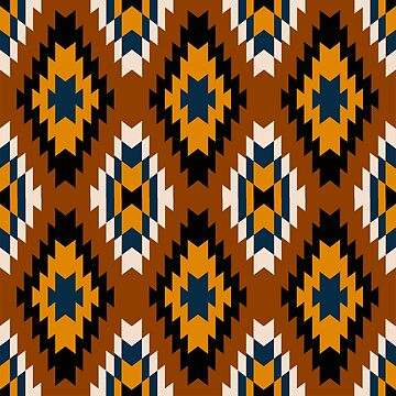 Brown yellow and white tribal pattern by artonwear