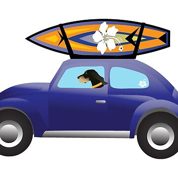 Black and Tan Coonhound Driving a Cute Car with a Surfboard on Top by TriPodDogDesign