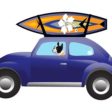 Boston Terrier Driving a Cute Car with a Surfboard on Top by TriPodDogDesign