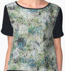 Mix fiber texture pattern with tropical leaves Chiffon Top
